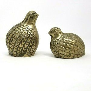 2 Vintage Brass Pheasant Birds Figurine decorative